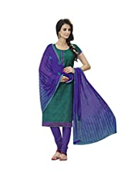 Desi Look Women's Green Cotton Dress Material With Dupatta