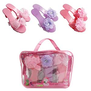 Dress Up Shoes - Fancy Flower and Ribbon Shoe Collection (3 Pairs) with Easy Carry Bag By My Princess Acedemy