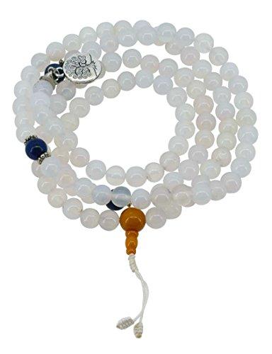 Tibetan 108 Yoga Meditation Prayer Bead Japa Mala Moonstone Necklace with a Charm Pendant (Circle Tree of Life 1)