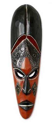 NOVICA Decorative Large Wood Mask, Black 'Disguise'