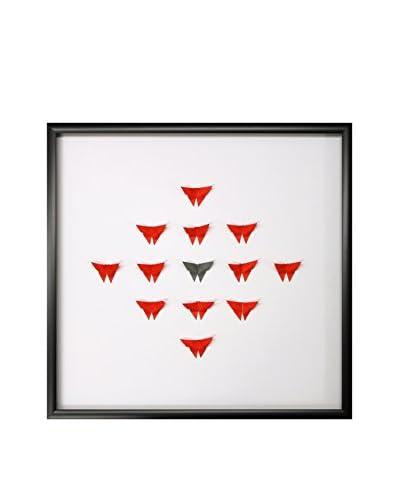 Red & Grey Hand-Folded Origami Butterflies Diamond Pattern, 23.5 x 23