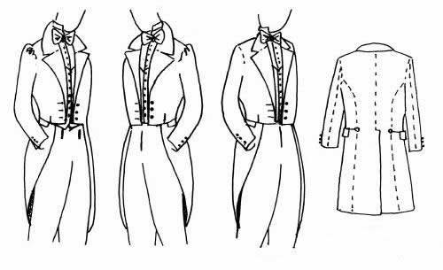 1830's, 1840's, and 1850's Dress Men's Dress Coat Pattern1830's, 1840's, and 1850's Dress Men's Dress Coat Pattern