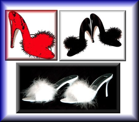 Cheap Maribou Slippers Stylish and Sexy shoes. In Sizes 5-12 – BLACK – WHITE – RED (B000FHBLZQ)