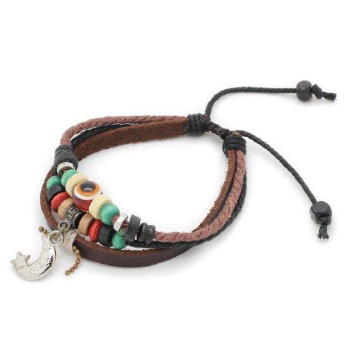 3-Strand Genuine Leather Adjustable Wristband / Bracelet with Beads & Cresent