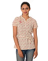 Oviya Women's White and Pink Floral Print Tops