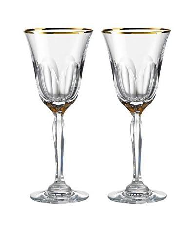 Rogaška Set of 2 Aulide 7-Oz. Red Wine Glasses, Gold