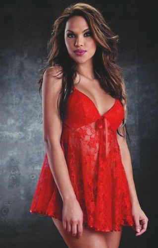 Dewa Badydoll Dress Set – Red Women's Sexy Lingerie(Size XL, fit L-XL)