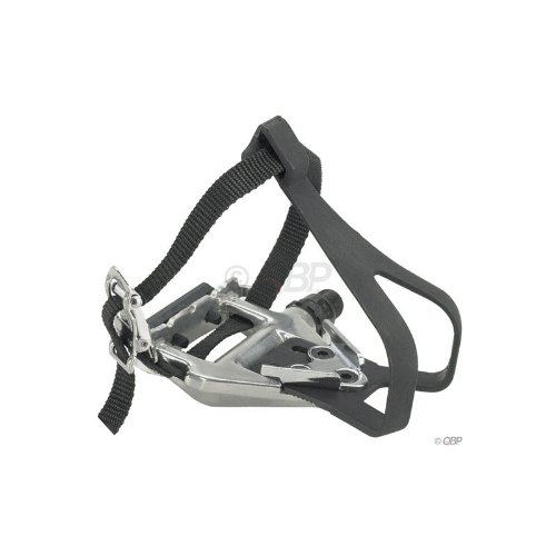 Wellgo LU-961 Road Pedals Silver with Clips & Straps