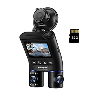 Blueskysea B2W 前後カメラ 車内+車外 WDR 2カメラ ドラレコ 赤外線 暗視機能 HD1080P Wi-Fi SONY製センサー