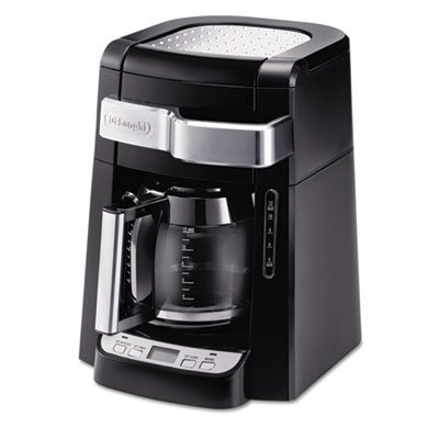 Complete frontal access allows you to easily fill water tank and ground coffee filter without moving the unit. - DELONGHI * Programmable 12-Cup Coffee