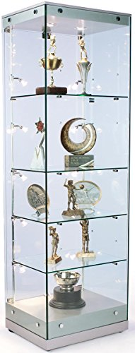 Displays2go Glass Display Case with LED Lighting, Locking Swing Open Door, Tempered Glass Shelves with MDF Top & Base - Clear & Silver (GTAP24LEDS) (Glass Display Case Lighting compare prices)