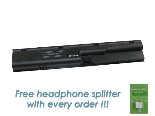 HP 633805-001 6 Cell, 4400mAh Replacement Laptop Battery with FREE Headphone Splitter