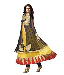 IndiWeaves Women's Yellow Embroidered Pure Georgette Unstitched Party wear Churidaar Dress Material