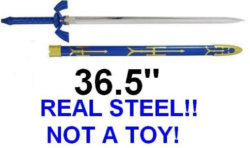 THE Legend of Zelda Real Steel Master Sword Costume Link Hylian Blue Knife