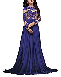 Miss Ethnic Women's Net Unstitched Dress Material (Blue)