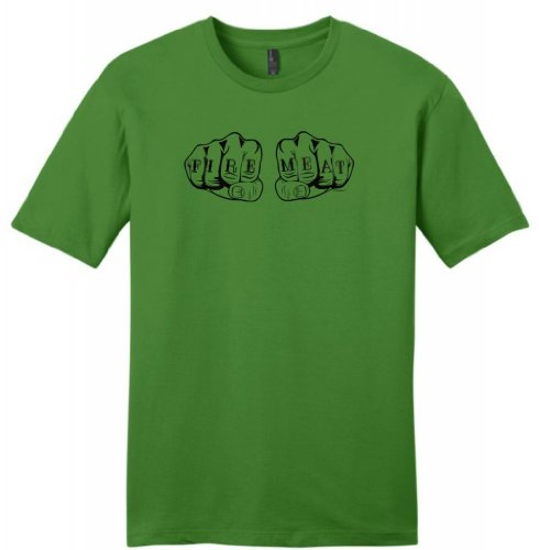 Fire And Meat Knuckles Tattoos Funny Grilling Young Mens T-Shirt X-Large Kiwi Green