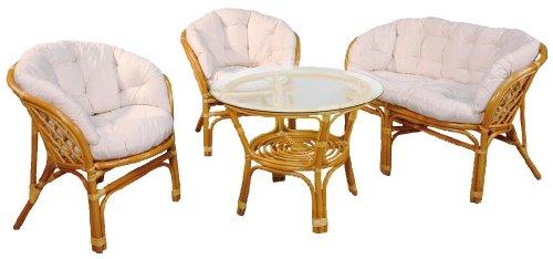 Hansen-Rattan-1371L-Rattan-Sitzgruppe-2-Sessel-1-Bank-und-1-Tisch-honig-gebeizt