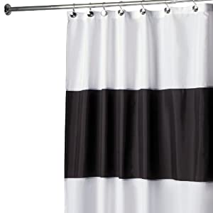 Amazon.com: Interdesign Zeno Waterproof Shower Curtain, Black and ...