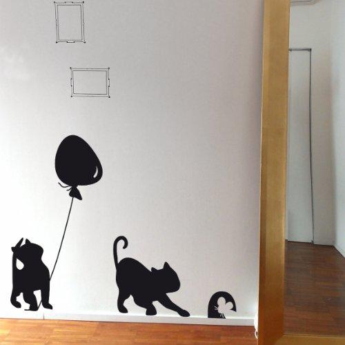 Gatto con Palloncino- Adesivi Murali - Wall Stickers per la decorazione della casa e delle camerette