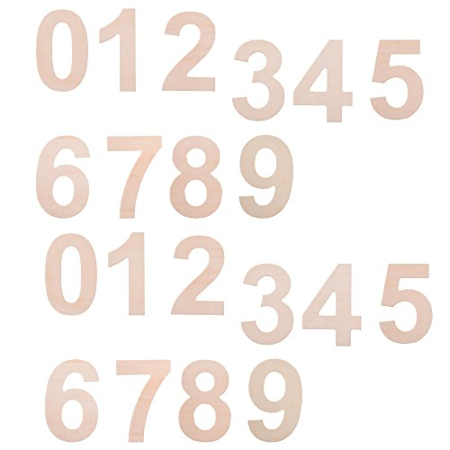 BCP Set of 20 Wood Craft Plywood Wooden Number 0 to 9, 2-7/8inches. (Wooden Number Set compare prices)