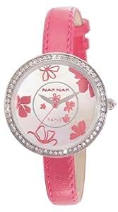 Naf Naf - N10082-212 - Vanille - Montre Femme - Quartz Analogique - Cadran Nacre - Bracelet Cuir Rose