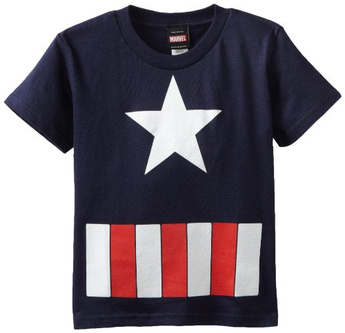 Captain America Little Boys' The Great Star Juvy T-Shirt, Navy, Small(4) (Captain America T Shirt Toddler compare prices)