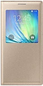FrossKin S View Flip Covers For Samsung Galaxy J5 Flip Covers Golden Color | Stiched With Thread Which Gives Enhanced Life To Flip Cover With Protection To Mobile Phone