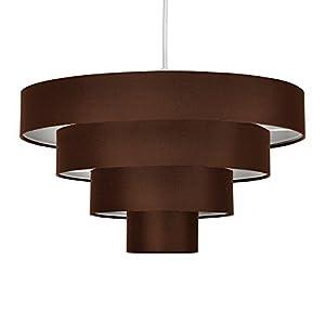 MiniSun - Modern 4 Tier Chocolate Brown Fabric Ceiling Pendant Light Shade by MiniSun