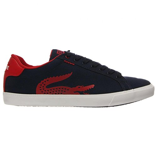Lacoste Men's Grad Vulc TSPP Fashion Sneaker, Dark Blue/Red, 8.5 M US