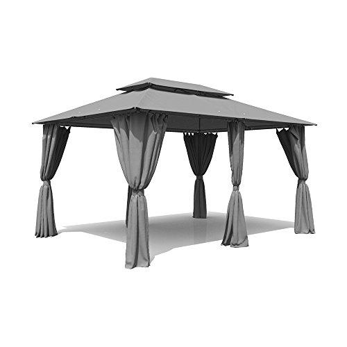 pavillon 3x4m garten metall gartenm bel partyzelt grau anthrazit. Black Bedroom Furniture Sets. Home Design Ideas