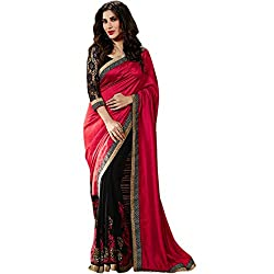 Latest Wize Rich look two tone Pallu Red And Black Color Half and Half Embroidered Saree