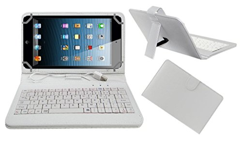 ECellStreet TM PU Leather Protective Keyboard Flip Case Cover With Stand For iBall 6351 Q40i Tablet - White