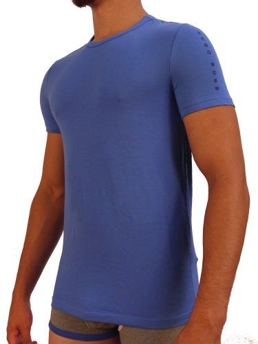 HUGO BOSS Mens Shirt Short-Sleeve Crewneck Shirt, Blue, X-Large
