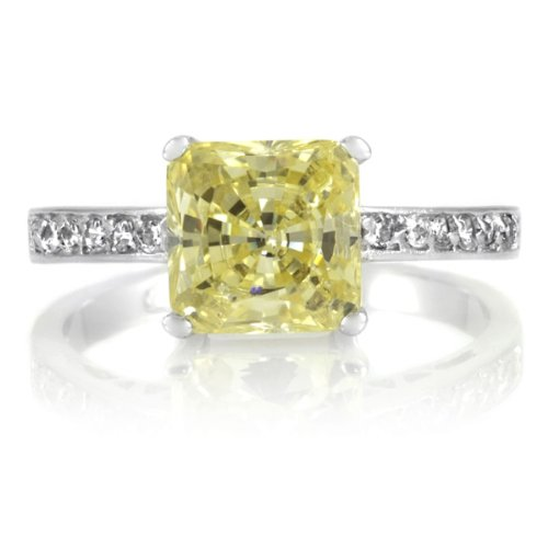 Trista's Promise Ring - Canary Princess Cut CZ .925 sterling silver jewelry, Rhodium electroplated Size 5