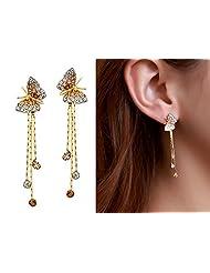 Swarovski Elements Auden Rhinestone Butterfly Drop Earrings For Women By Ananth Jewels