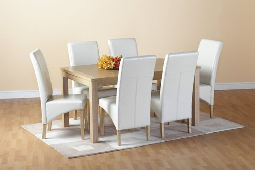 Belgravia Oak Dining Table & 6 Cream Chairs Set