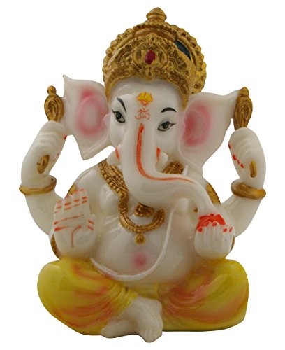 Auspicious Ganesh Statue in White and Yellow
