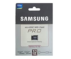 Samsung 32GB Micro SDHC UHS-1 PRO Class 10 Memory Card for Smart Phones and Tablets