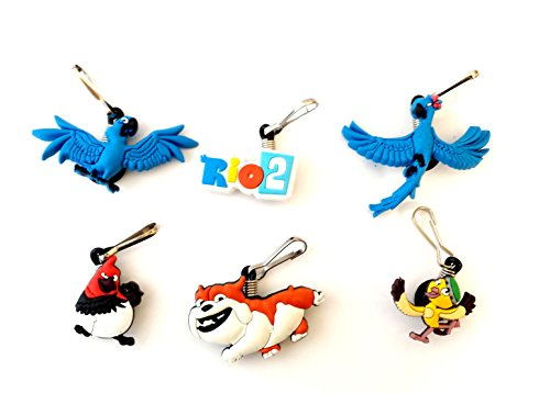 6 pcs Rio 2 Cartoon Zipper Pull Charms for Jacket Backpack Bag Pendant