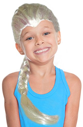Child's Blonde Frozen Touch Queen Wig With Braided Ponytail and Icicle Strands
