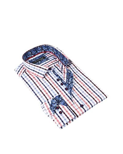Dolce Guava Men's Plaid Contrast Dress Shirt
