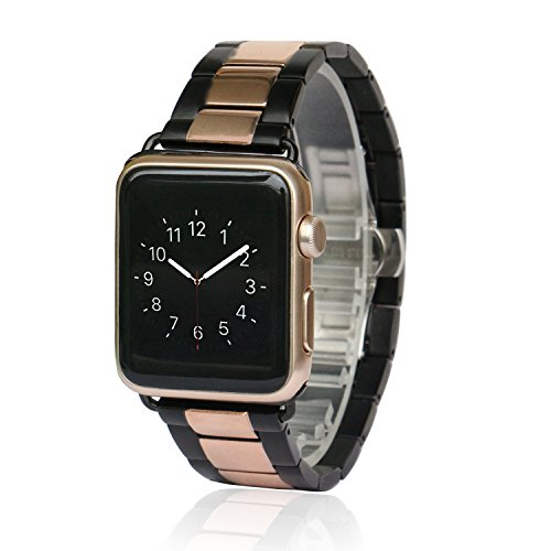 Apple-Watch-Band-AWStech-38mm-Stainless-Steel-Replacement-Smart-Watch-Band-Wrist-Strap-Bracelet-with-Butterfly-Buckle-Clasp-for-Apple-Watch-All-Models-Black-Rosegold
