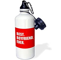 3dRose wb_179709_1 Best Boyfriend Ever White Text on Red-Anniversary Valentines Day Sports Water Bottle, 21 oz, White