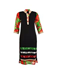 Karni Women's Georgette Black & Red Kurti