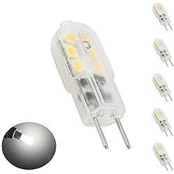 Bonlux 5-Pack 12V 3W G6.35 LED lampadina bianca fredda 6000K Bi-Pin JC Tipo 20W Equivalente T3 / T4 / T5 Lampadina G6.35 / GY6.35 Base LED per l'illuminazione sotto pensile Accent Puck luce Desk Lamp