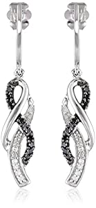 10K White Gold Black and White Diamond Cross Over Earrings (1/4 cttw)