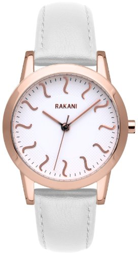 Rakani ISH 32mm Rose Gold Watch with White Leather Band