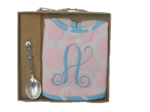 Mud Pie Baby Girl's Initial Bib and Spoon Set (A, Multicolored) - 1