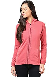 GRAIN Red Color Regular fit Cotton Jackets for Women