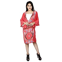 LALANA Multicolor Abstract Print Silk Kaftan